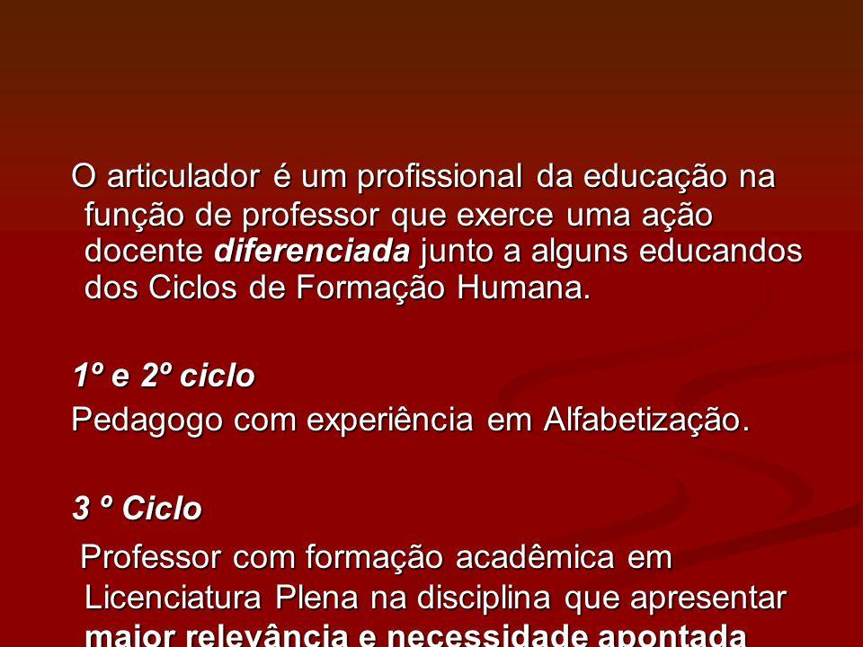 O articulador é um profissional da educação na função de professor que exerce uma ação docente diferenciada junto a alguns educandos dos Ciclos de Formação Humana.