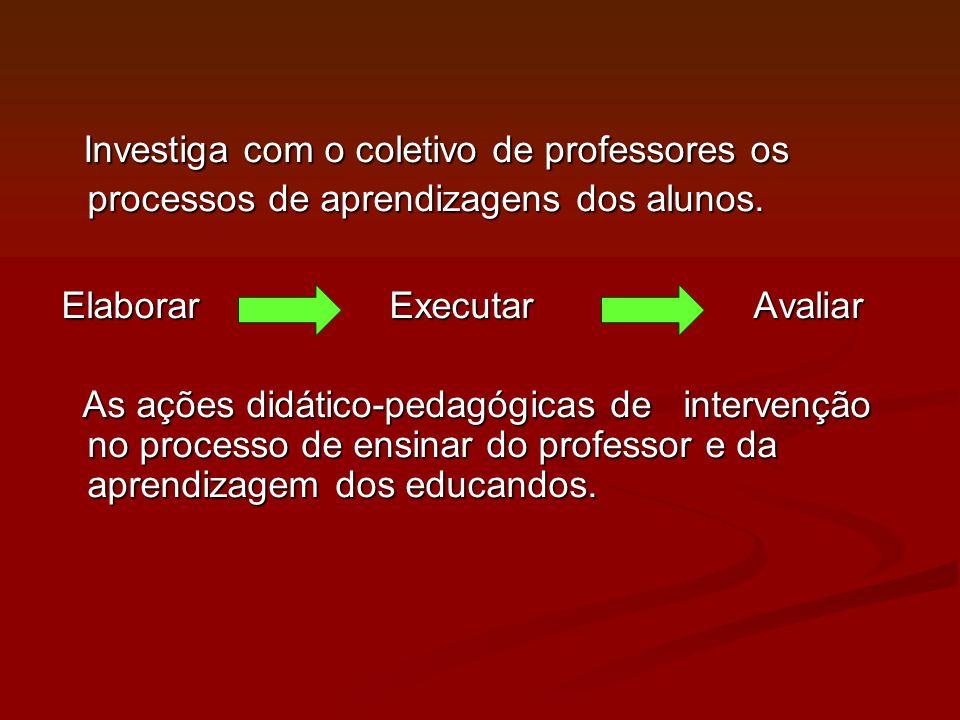 Investiga com o coletivo de professores os processos de aprendizagens dos alunos.
