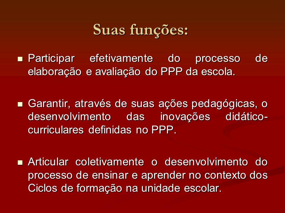 Suas funções: Participar efetivamente do processo de elaboração e avaliação do PPP da escola.