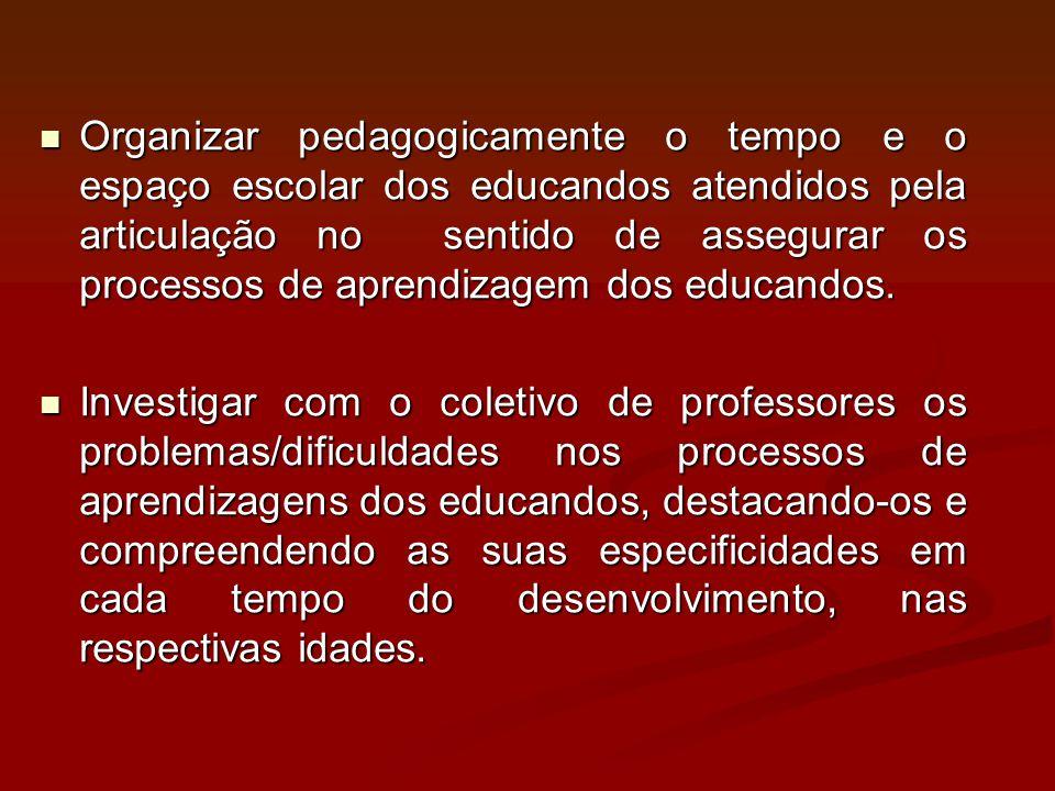 Organizar pedagogicamente o tempo e o espaço escolar dos educandos atendidos pela articulação no sentido de assegurar os processos de aprendizagem dos educandos.