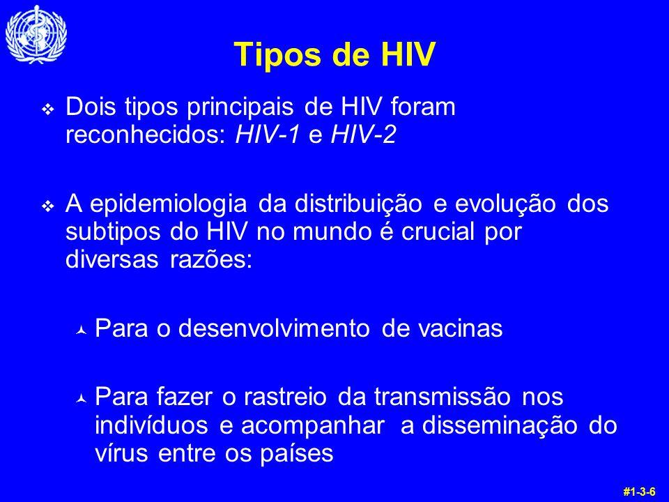 Tipos de HIV Dois tipos principais de HIV foram reconhecidos: HIV-1 e HIV-2.