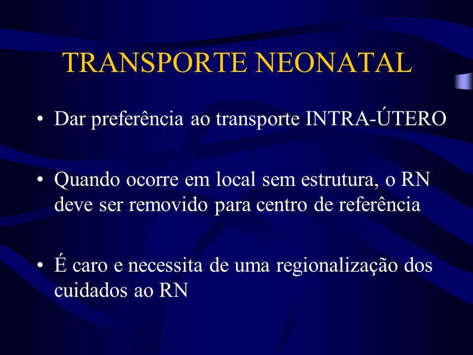 TRANSPORTE NEONATAL Dar preferência ao transporte INTRA-ÚTERO