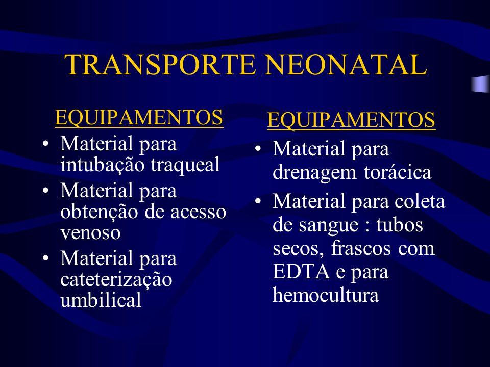 TRANSPORTE NEONATAL EQUIPAMENTOS Material para intubação traqueal