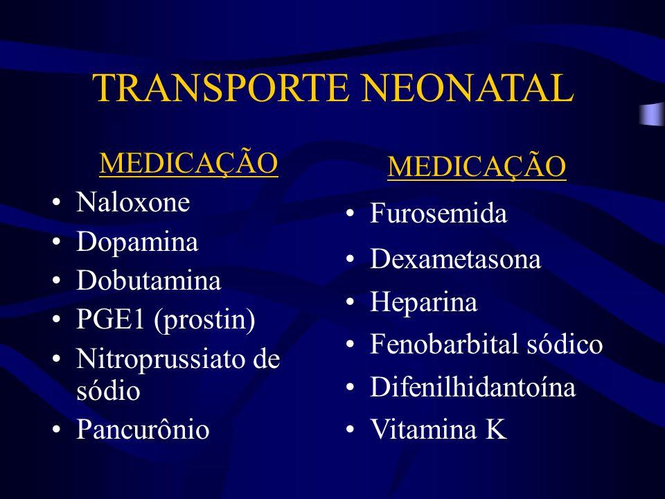 TRANSPORTE NEONATAL MEDICAÇÃO Naloxone Dopamina Dobutamina