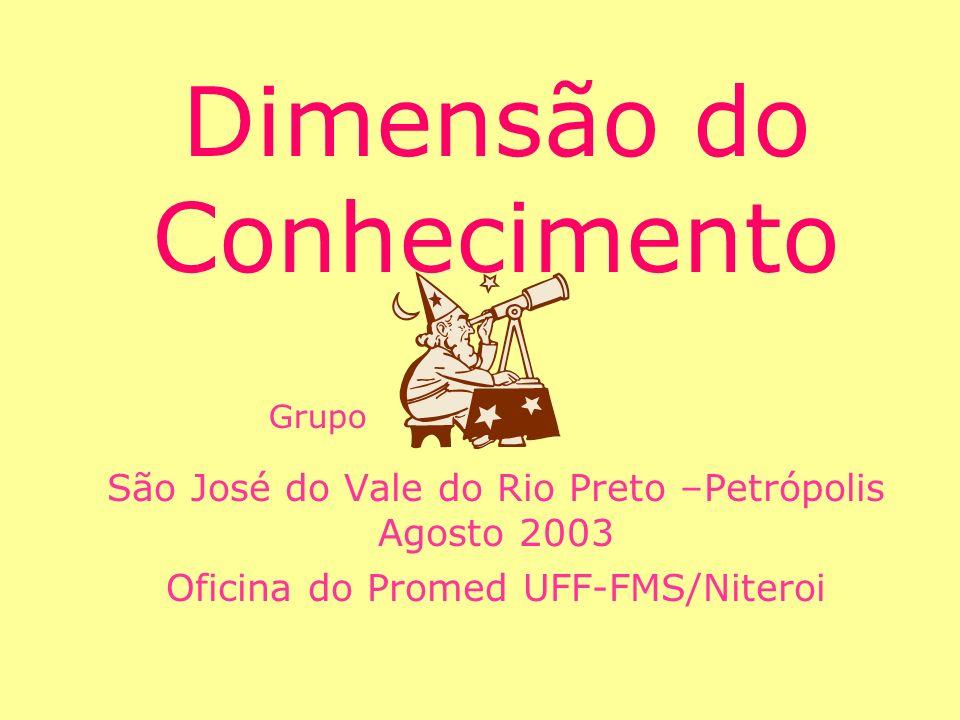 Dimensão do Conhecimento São José do Vale do Rio Preto –Petrópolis Agosto 2003 Oficina do Promed UFF-FMS/Niteroi