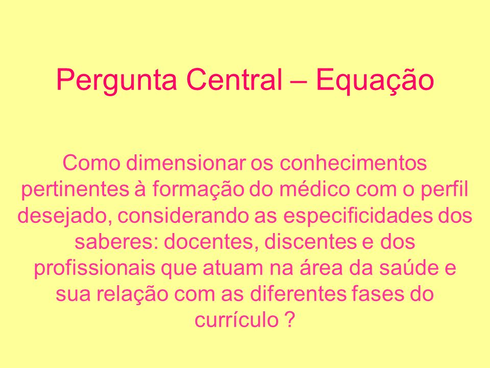 Pergunta Central – Equação