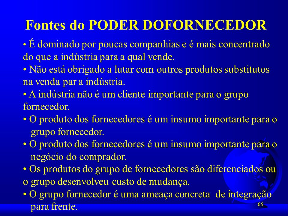 Fontes do PODER DOFORNECEDOR