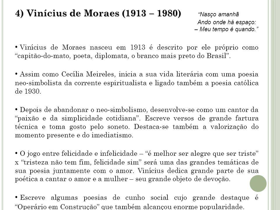 4) Vinícius de Moraes (1913 – 1980) Nasço amanhã Ando onde há espaço: – Meu tempo é quando.
