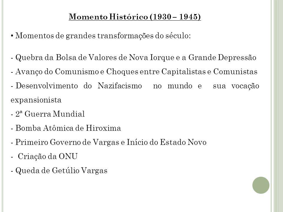 Momento Histórico (1930 – 1945) Momentos de grandes transformações do século: Quebra da Bolsa de Valores de Nova Iorque e a Grande Depressão.