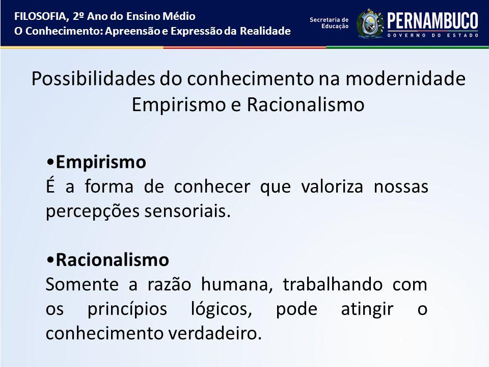 Possibilidades do conhecimento na modernidade Empirismo e Racionalismo