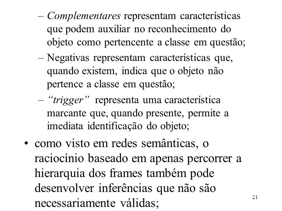 Complementares representam características que podem auxiliar no reconhecimento do objeto como pertencente a classe em questão;