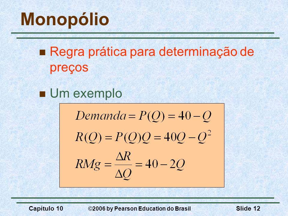 Monopólio Regra prática para determinação de preços Um exemplo
