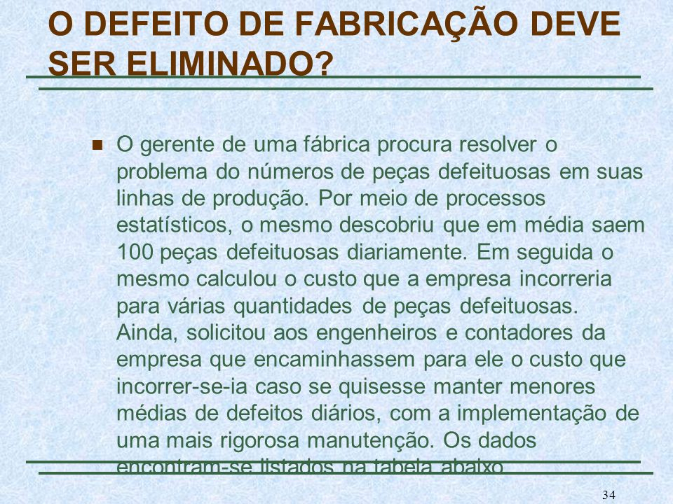 O DEFEITO DE FABRICAÇÃO DEVE SER ELIMINADO