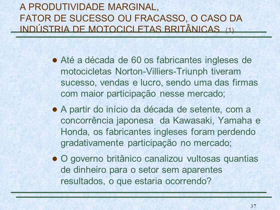 A PRODUTIVIDADE MARGINAL, FATOR DE SUCESSO OU FRACASSO, O CASO DA INDÚSTRIA DE MOTOCICLETAS BRITÂNICAS. (1)