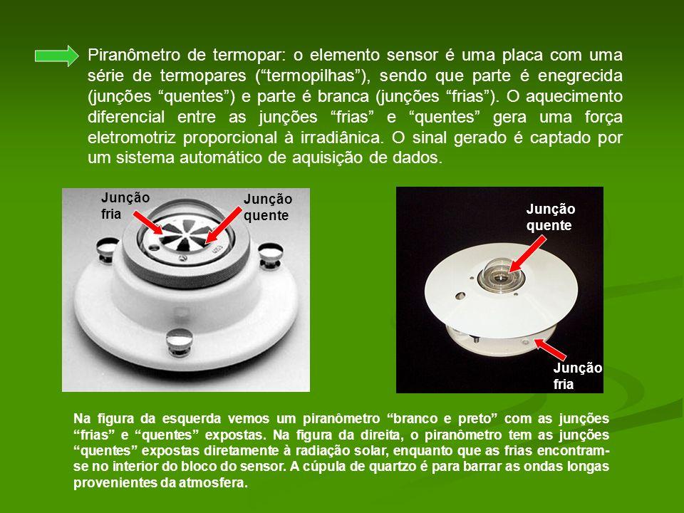 Piranômetro de termopar: o elemento sensor é uma placa com uma série de termopares ( termopilhas ), sendo que parte é enegrecida (junções quentes ) e parte é branca (junções frias ). O aquecimento diferencial entre as junções frias e quentes gera uma força eletromotriz proporcional à irradiânica. O sinal gerado é captado por um sistema automático de aquisição de dados.