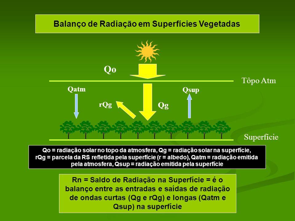 Qo Balanço de Radiação em Superfícies Vegetadas Tôpo Atm Qg Superfície