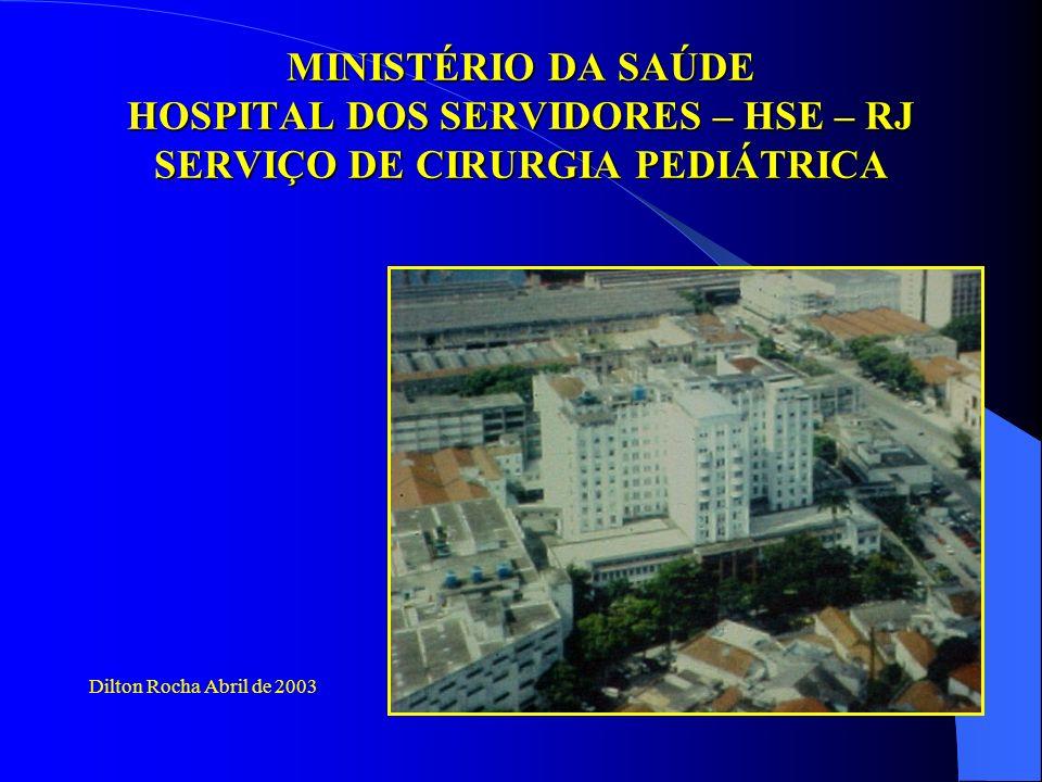 MINISTÉRIO DA SAÚDE HOSPITAL DOS SERVIDORES – HSE – RJ SERVIÇO DE CIRURGIA PEDIÁTRICA