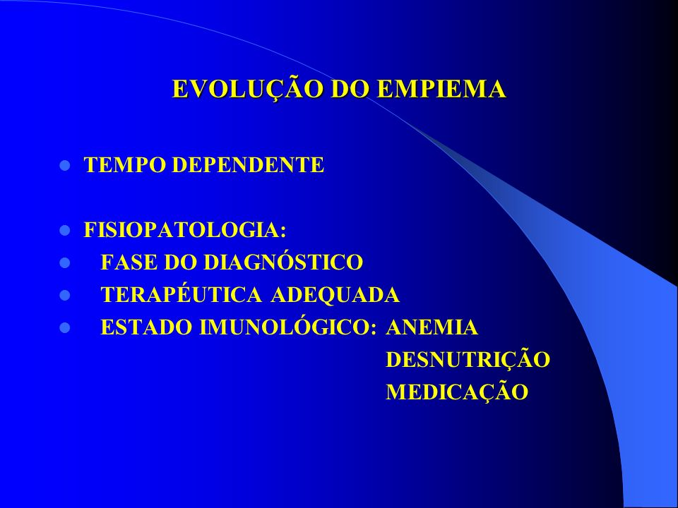 EVOLUÇÃO DO EMPIEMA TEMPO DEPENDENTE FISIOPATOLOGIA:
