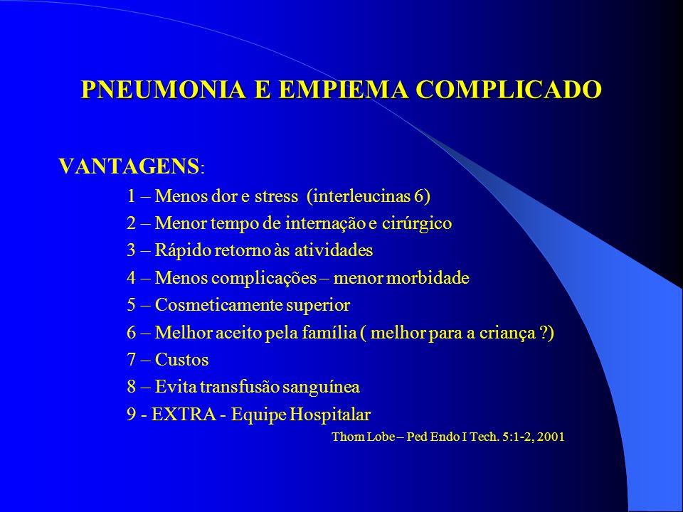 PNEUMONIA E EMPIEMA COMPLICADO