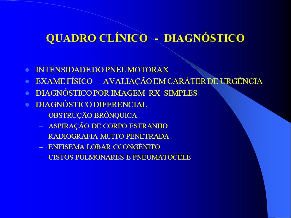 QUADRO CLÍNICO - DIAGNÓSTICO