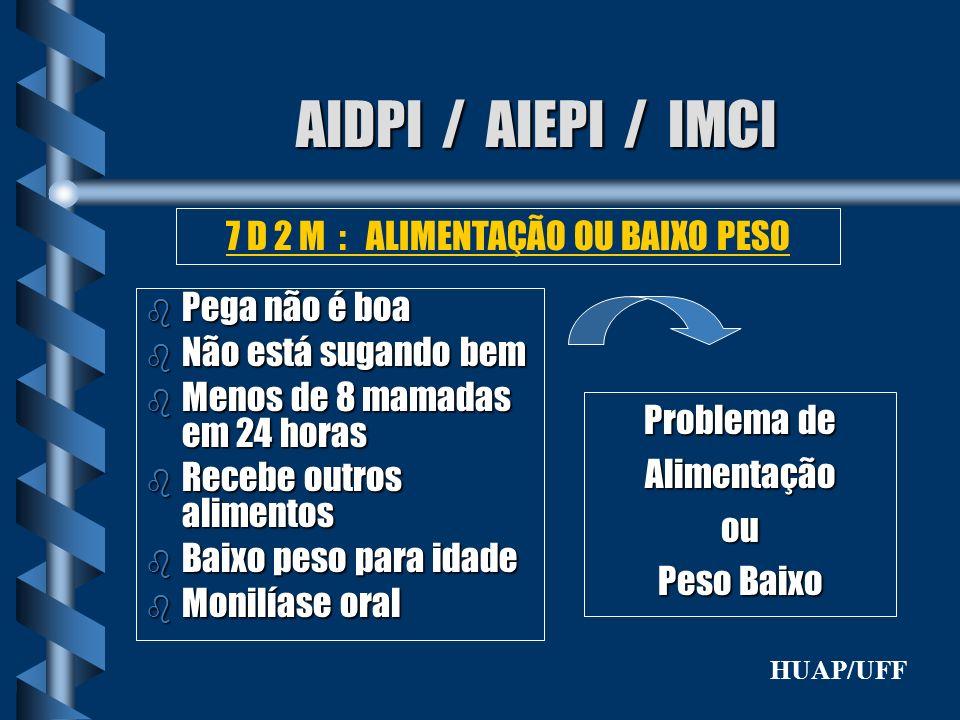 7 D 2 M : ALIMENTAÇÃO OU BAIXO PESO