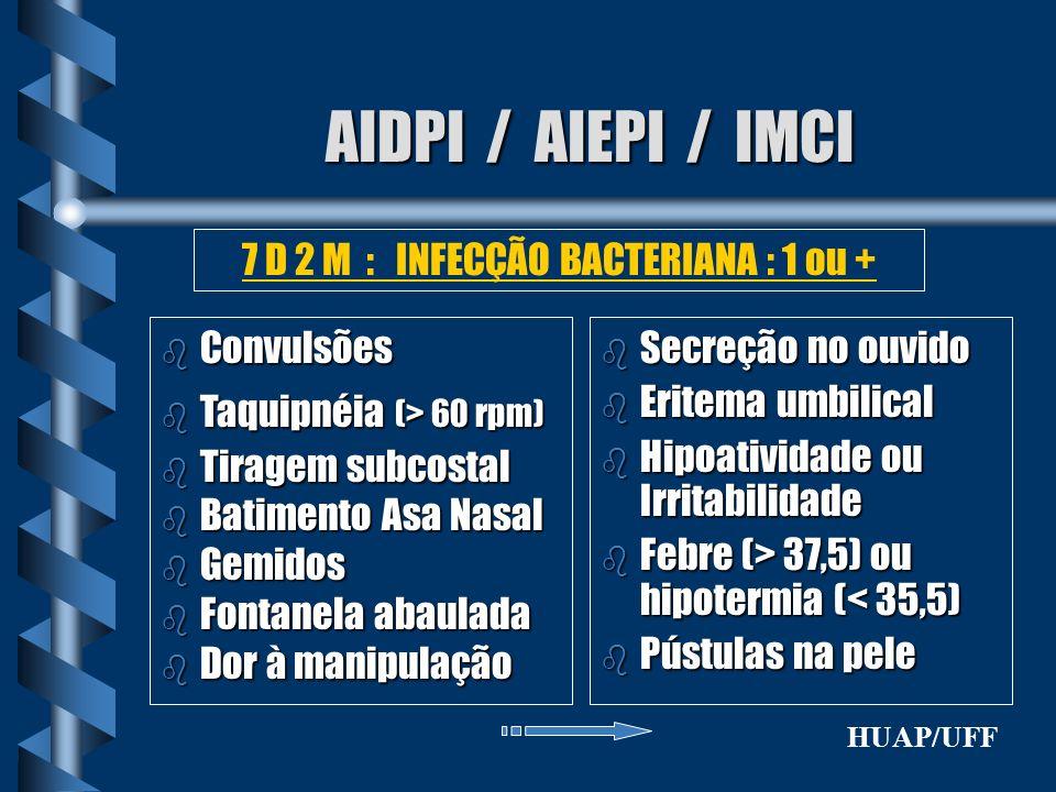 7 D 2 M : INFECÇÃO BACTERIANA : 1 ou +
