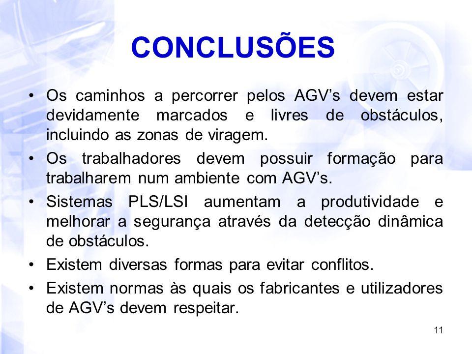 CONCLUSÕES Os caminhos a percorrer pelos AGV's devem estar devidamente marcados e livres de obstáculos, incluindo as zonas de viragem.
