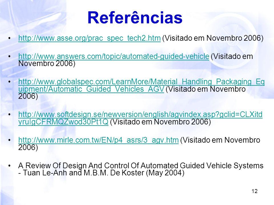 Referências http://www.asse.org/prac_spec_tech2.htm (Visitado em Novembro 2006)