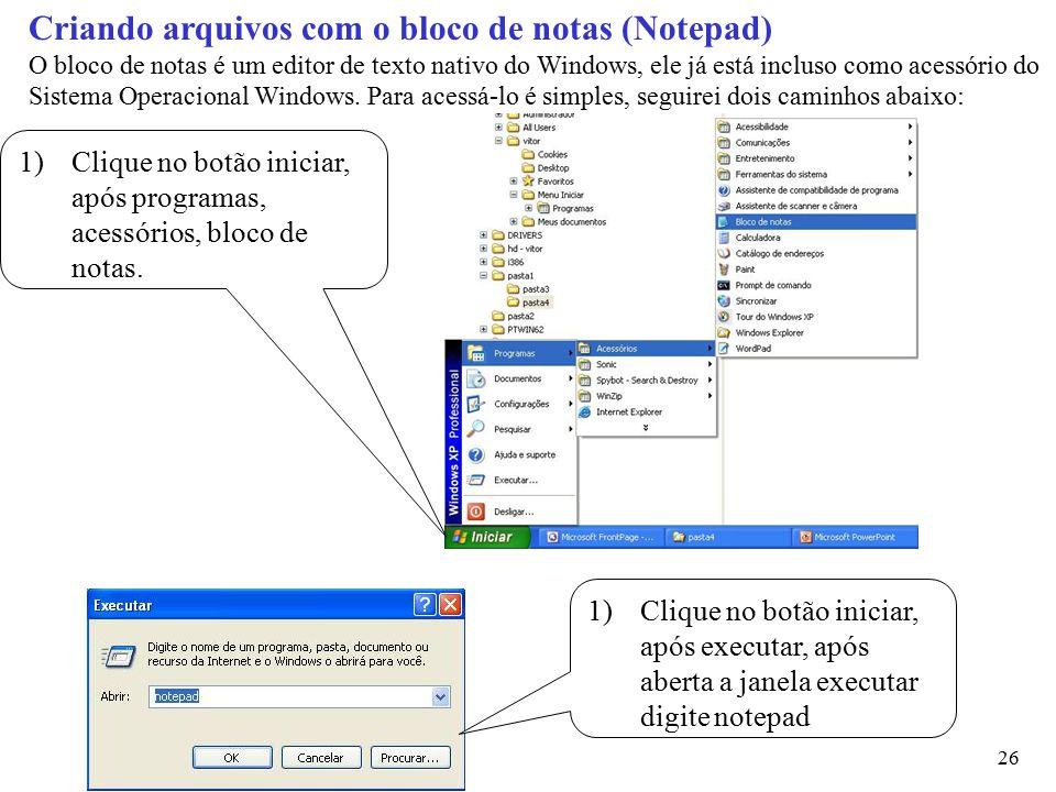 Criando arquivos com o bloco de notas (Notepad)