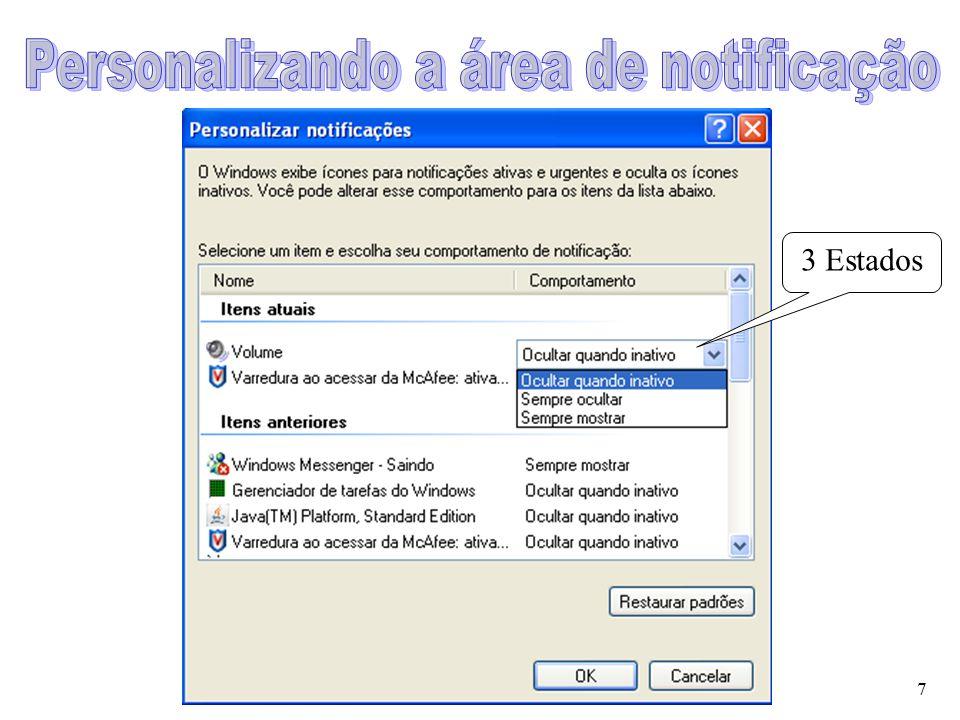 Personalizando a área de notificação