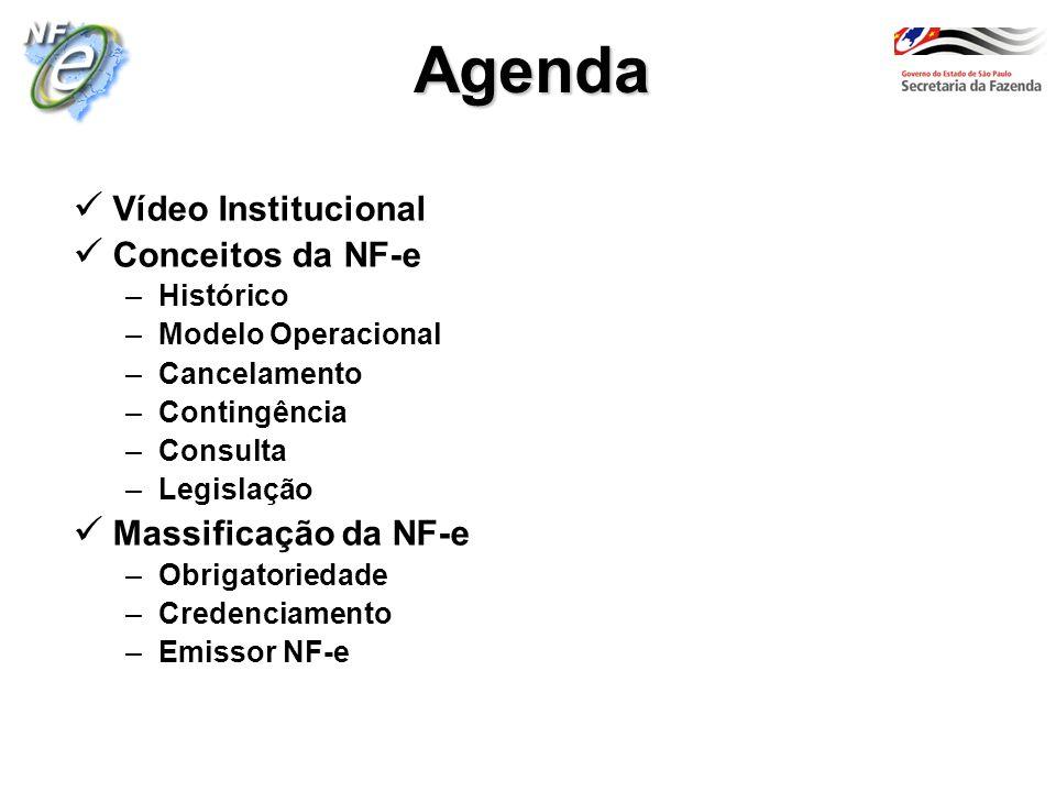 Agenda Vídeo Institucional Conceitos da NF-e Massificação da NF-e
