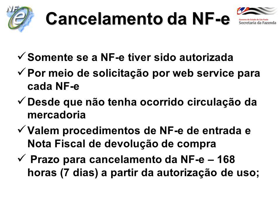 Cancelamento da NF-e Somente se a NF-e tiver sido autorizada