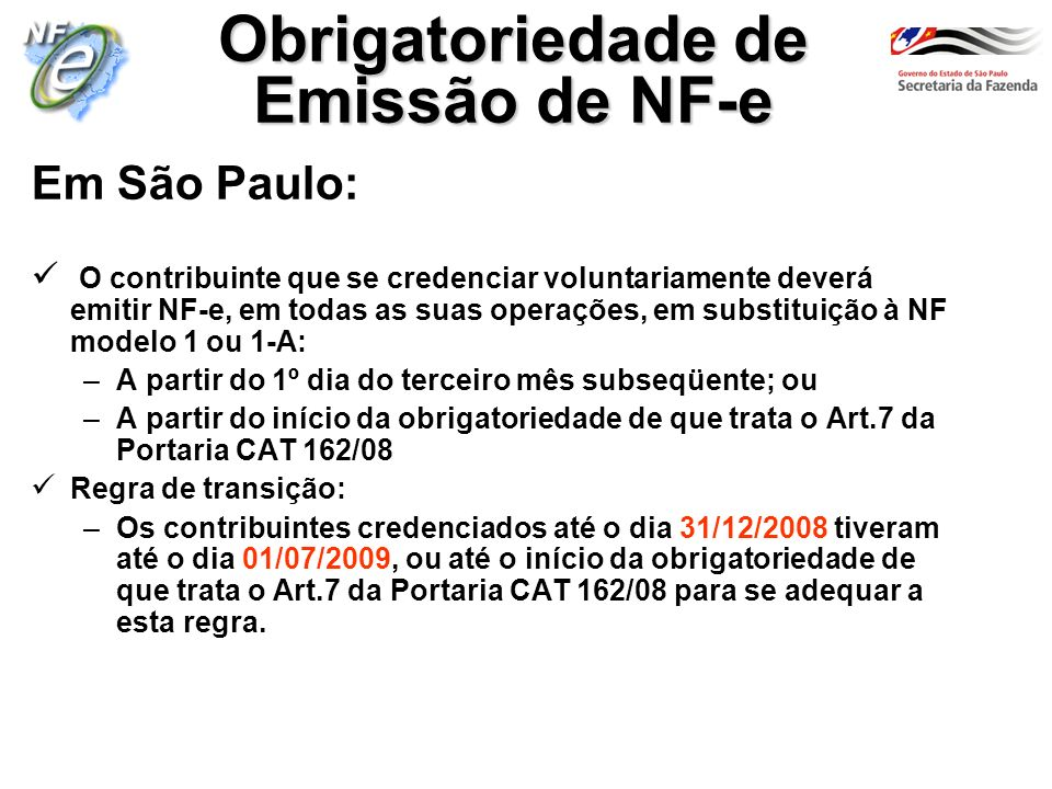 Obrigatoriedade de Emissão de NF-e