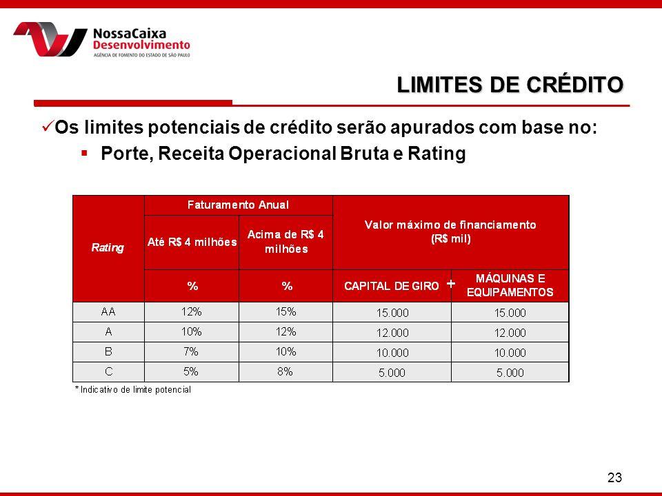 LIMITES DE CRÉDITO Os limites potenciais de crédito serão apurados com base no: Porte, Receita Operacional Bruta e Rating.