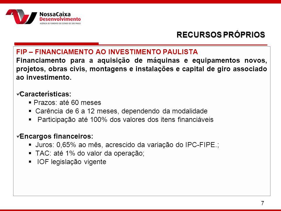 RECURSOS PRÓPRIOS FIP – FINANCIAMENTO AO INVESTIMENTO PAULISTA