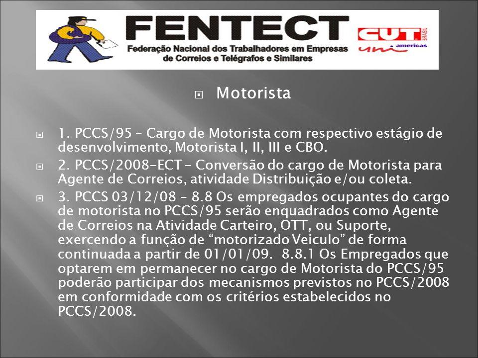Motorista 1. PCCS/95 – Cargo de Motorista com respectivo estágio de desenvolvimento, Motorista I, II, III e CBO.