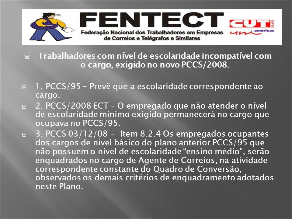 Trabalhadores com nível de escolaridade incompatível com o cargo, exigido no novo PCCS/2008.