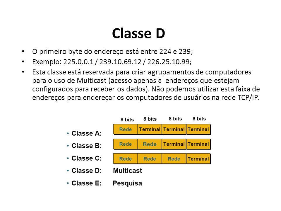 Classe D O primeiro byte do endereço está entre 224 e 239;