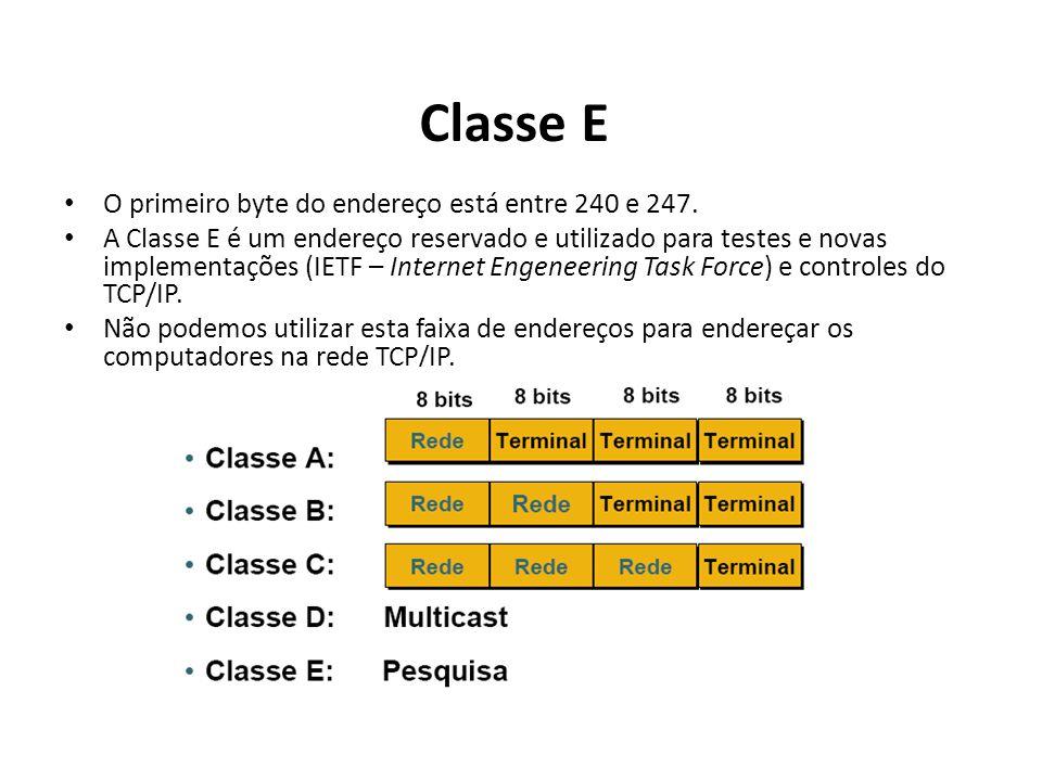 Classe E O primeiro byte do endereço está entre 240 e 247.