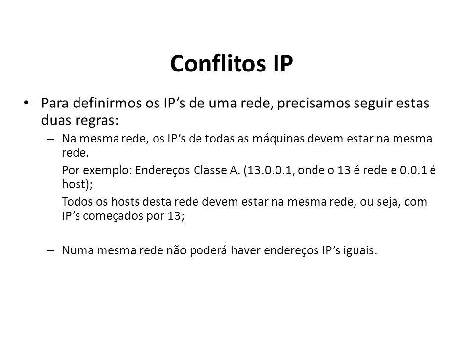 Conflitos IP Para definirmos os IP's de uma rede, precisamos seguir estas duas regras: