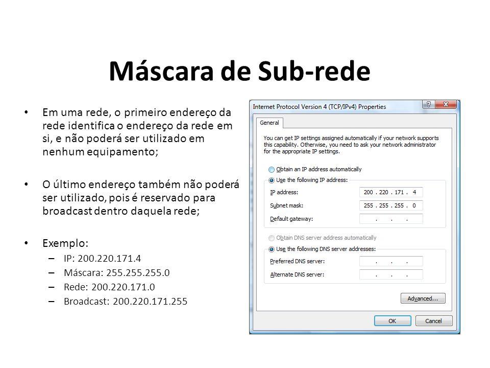 Máscara de Sub-rede Em uma rede, o primeiro endereço da rede identifica o endereço da rede em si, e não poderá ser utilizado em nenhum equipamento;