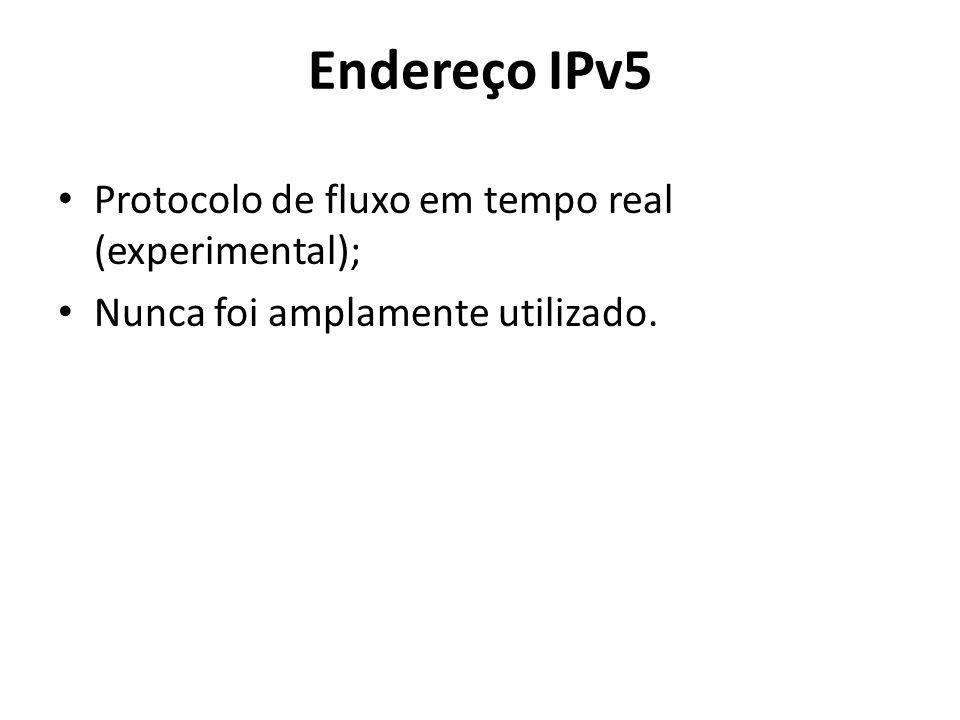 Endereço IPv5 Protocolo de fluxo em tempo real (experimental);