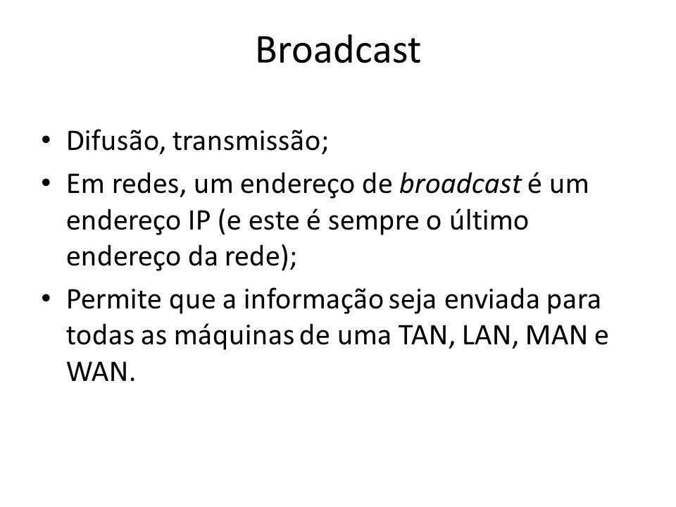 Broadcast Difusão, transmissão;