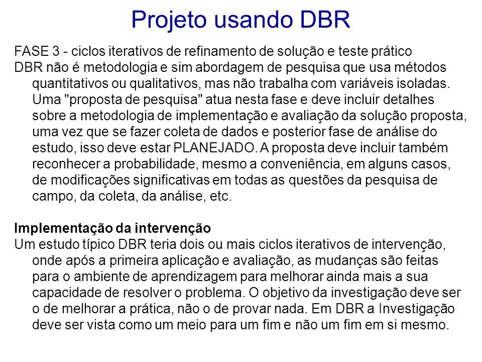 Projeto usando DBR FASE 3 - ciclos iterativos de refinamento de solução e teste prático.