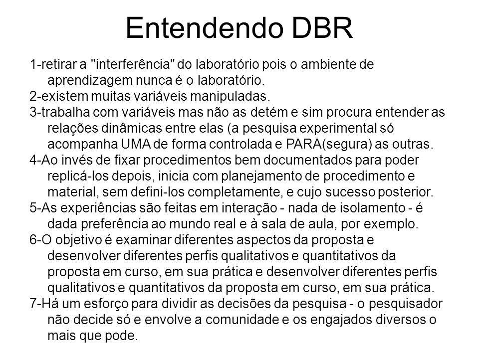 Entendendo DBR 1-retirar a interferência do laboratório pois o ambiente de aprendizagem nunca é o laboratório.