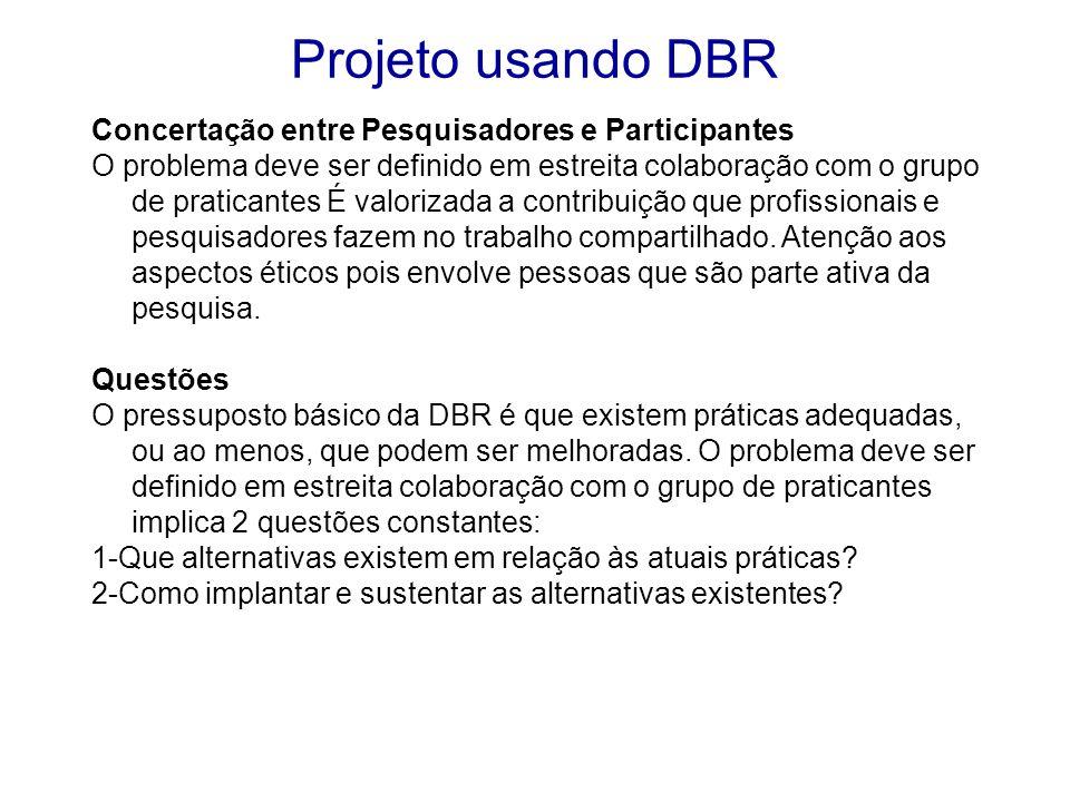 Projeto usando DBR Concertação entre Pesquisadores e Participantes