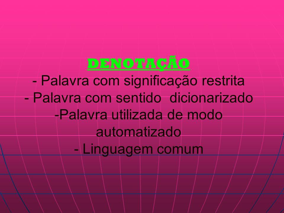 DENOTAÇÃO - Palavra com significação restrita - Palavra com sentido dicionarizado -Palavra utilizada de modo automatizado - Linguagem comum
