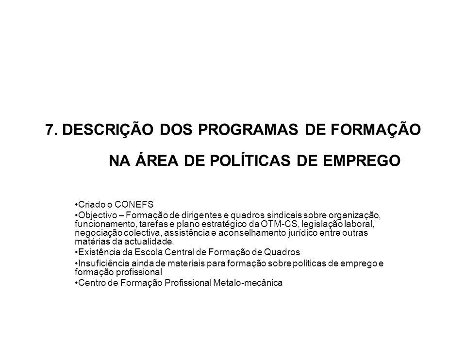 7. DESCRIÇÃO DOS PROGRAMAS DE FORMAÇÃO NA ÁREA DE POLÍTICAS DE EMPREGO
