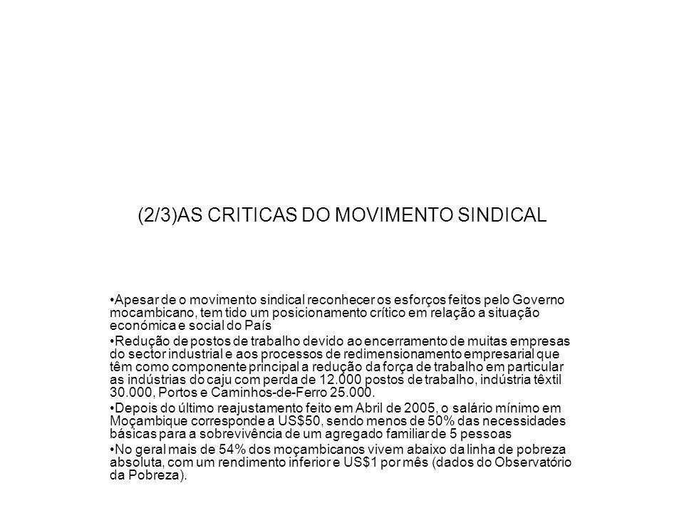 (2/3)AS CRITICAS DO MOVIMENTO SINDICAL