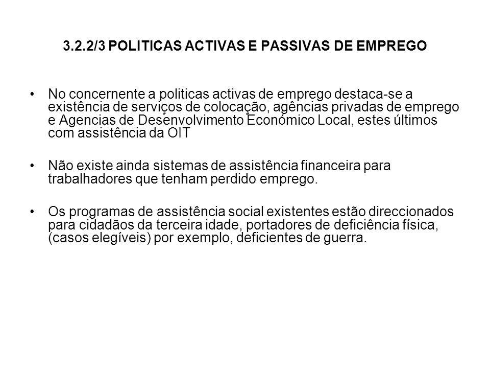 3.2.2/3 POLITICAS ACTIVAS E PASSIVAS DE EMPREGO